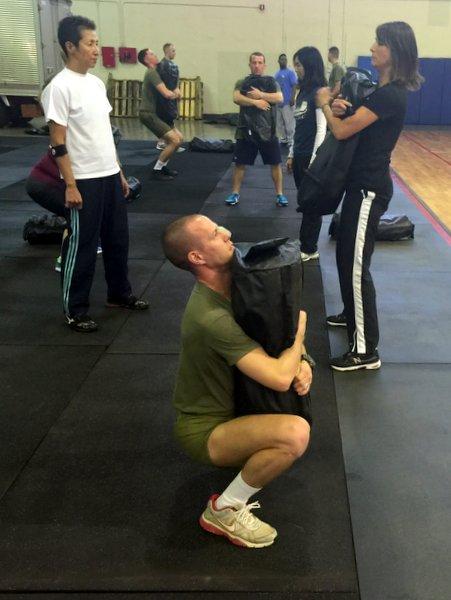 sandbag squats
